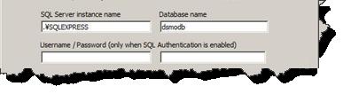 SQLServer設定入力フィールド